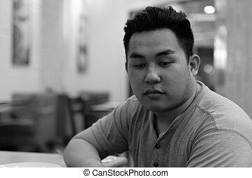 人, 強調された, 考え, 太りすぎ, アジア人, 若い, 店, コーヒー