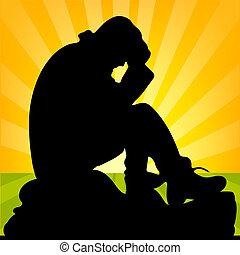 人, 彼の, シルエット, モデル, 手アップ, 日の出, の後ろ, 保有物, 悲しい, 終わり, 頭, 石