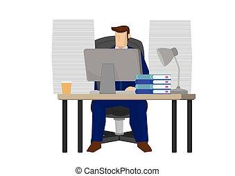 人, 彼の, スーツ, コンピュータ, ビジネス, ラップトップ, オフィス, desk., 仕事
