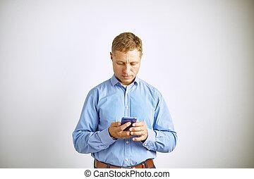 人, 彼の, ビジネスの手, smartphone