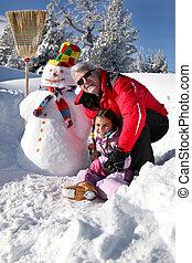 人, 彼の, 雪, 孫娘, 遊び
