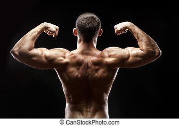 人, 往回, 显示, 大, muscles.