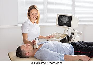 人, 得到, 超聲波, ......的, a, 甲狀腺, 從, 醫生