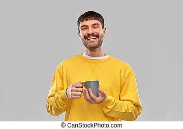 人, 微笑, 若い, カップ, 幸せ, コーヒー