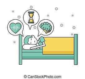 人, 心, 時間, 考え, 心, ベッド, 睡眠