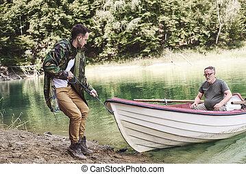 人, 成人, 小船, beaching