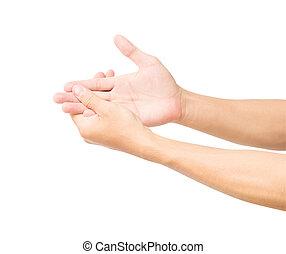 人, 手, ∥で∥, 痛み, 隔離された, 白, 背景, ∥で∥, クリッピング道, ヘルスケア, そして, 医学の概念