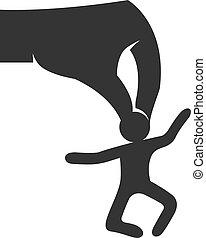 人, 手, ビジネス, アイコン, figure., white., ベクトル, 黒, illustration., 概念, 保有物