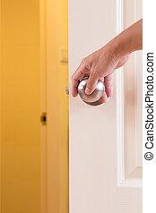 人, 手, ロックされる, ドア・ノブ