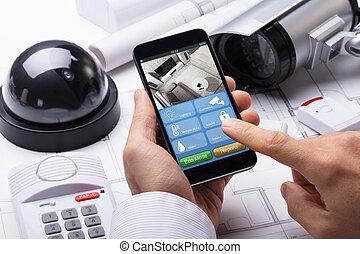 人, 手, 使うこと, 家 保証, システム, 上に, mobilephone