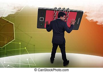 人, 手, 带, 聪明, 电话, 通信, 概念