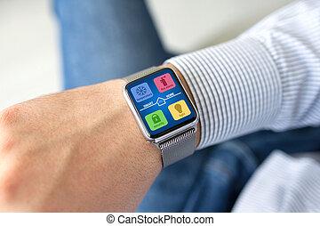 人, 手, 观看, 带, app, 聪明, 家, 在上, 屏幕