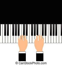 人, 手, 鋼琴, 插圖
