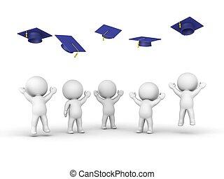 人, 投げる, 卒業, 帽子, 3d