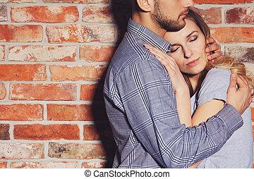 人, 抱き合う, 彼の, ガールフレンド