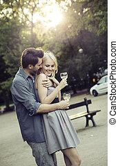 人, 抱き合う, 彼の, 美しい, ガールフレンド