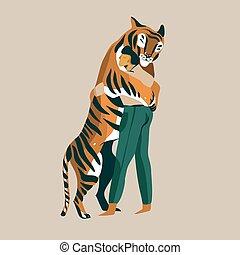 人, 抱擁, ベクトル, 情事, 慎重に, 抽象的, トレーナー, 非常に, 背景, 白, 手, グラフィック, 隔離された, 引かれる, tiger, 株イラスト