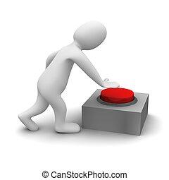 人, 押す, 赤, button., 3d, レンダリングした, illustration.., 3d,...