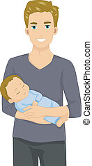 人, 拿住嬰孩