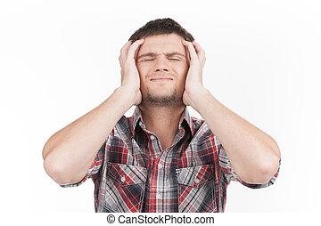 人, 持つこと, 頭痛, 白, バックグラウンド。, 人, 感じ, ストレス, そして, 憂うつ, 保有物の 頭部, ∥で∥, 目は 閉まった