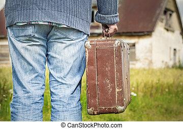 人, 捨てられた, スーツケース