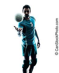 人, 排球, 黑色半面畫像
