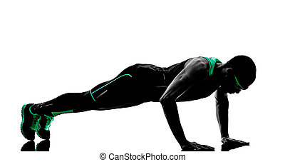 人, 推, 向上, 鍛煉, 健身, 黑色半面畫像