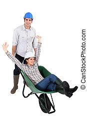 人, 推, 婦女, 在, 獨輪手車