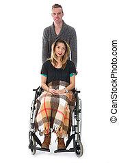 人, 推, 婦女, 在, a, 輪椅