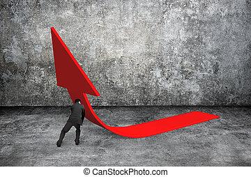人, 推, 紅色, 趨勢, 向上的3d 個箭頭