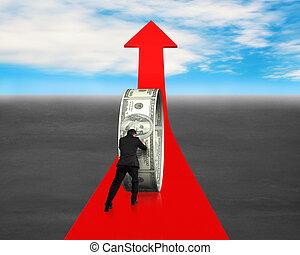 人, 推, 錢, 環繞, 上, 紅色箭頭