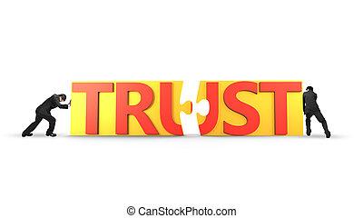 人, 推, 難題 片斷, 由于, 詞, 信任, 一起