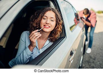 人, 推, a, 打破, 汽車, 婦女, 駕駛員
