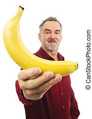 人, 提供, a, 黄色のバナナ, ∥で∥, 伸ばしている, 腕