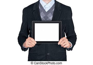 人, 提示, ブランク, タブレット, デジタル