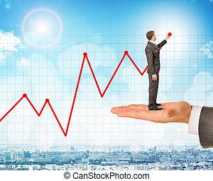 人, 握住, 商人, 圖畫, 發展圖表