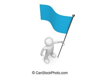 人, 握住, 藍色, 旗, 上, 旗杆