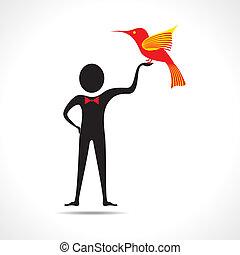 人, 握住, 鸟, 图标