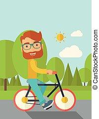 人, 摆脱, a, bicycle.