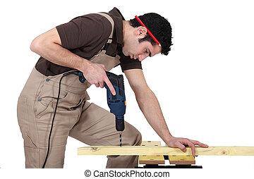 人, 操練, 洞, 在, 木頭