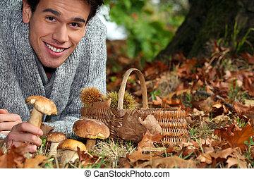 人, 收集, 蘑菇, 以及, 栗子, 在, the, 森林