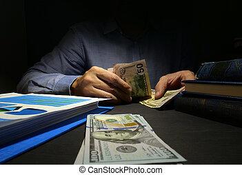 人, 数える, お金。, 現金, 給料日, ローン, concept.