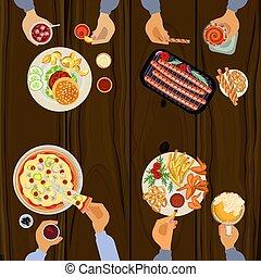 人, 昼食を食べること
