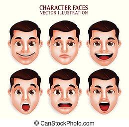 人, 朝向 集合, 不同, 現實, 面部, 漂亮, 表示, 3d