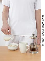 人, 朝食の 作成