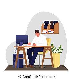 人, 机, 仕事, スーツ, モデル, コンピュータ