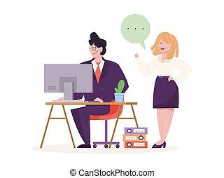 人, 机, 仕事, モデル, コンピュータ, 若い
