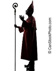 人, 枢機卿, 司教, シルエット, 挨拶, 祝福