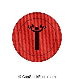 人, 框架, dumbbell, 红, 圆