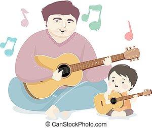 人, 歌いなさい, イラスト, 子供, ギター, お父さん, 男の子